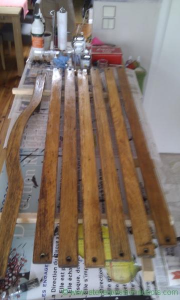 vernissage des lames en bois