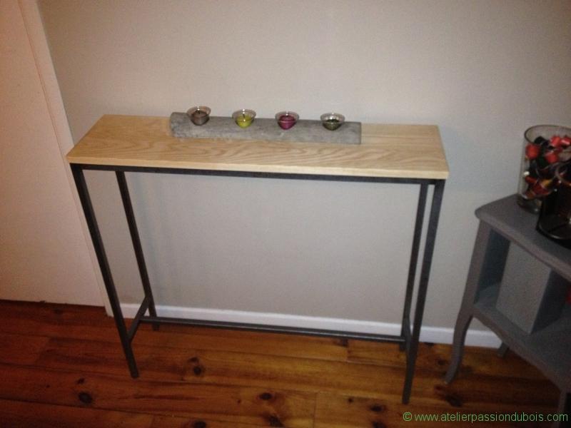 console en bois et acier 2