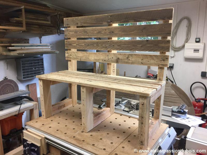 banc jardin bois palette