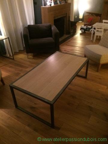 table basse bois metal salon