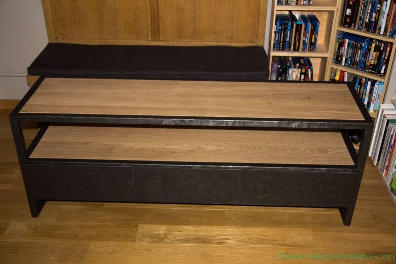 meuble tv bois metal