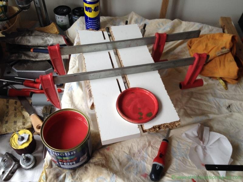 mise en peinture rouge