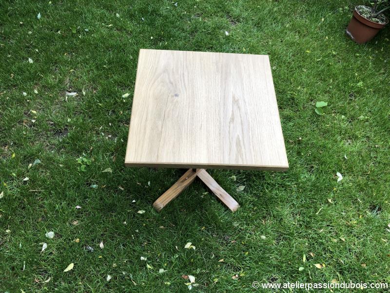 table d'appoint en chêne et teck