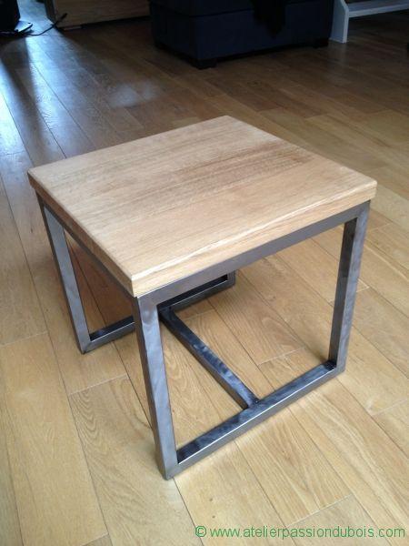 Réalisation d'une table d'appoint en bois et métal