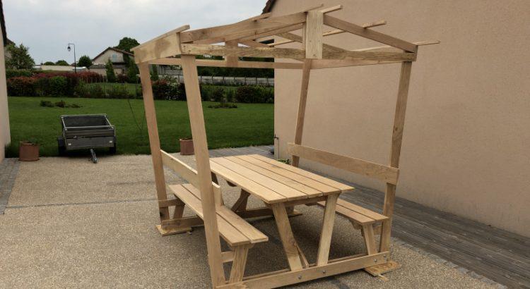 Table bois pique nique couverte - Atelier Passion du Bois
