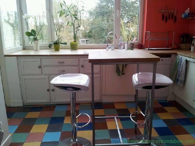 table haute bois metal